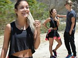 Enviable physique: Vanessa Hudgens showed off her toned abs and legs in a crop top and tiny shorts as she embarked on a hike with her boyfriend Austin Butler
