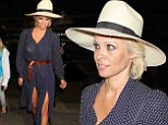 Hat's impressive! Pamela Anderson turns heads in fancy fedora and summer dress combo as she jets into Los Angeles