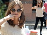 Even time travellers need a day off! Jenna Coleman teams short-sleeved jumper with skinnies as she enjoys some downtime away from Doctor Who set
