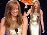 Funny woman: Allison Janney won two awards on Thursday at the Critics Choice Television Awards and stole the show with her sex jokes