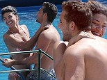 Getting steamy while cooling off! Bikini-clad Jessica Szohr is very touchy feely during a swim with new man Italian businessman Tommy Chiabra