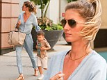 Gisele spends the day with her son