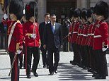 Chinese Premier Li Keqiang, being given a guard of honour at the Treasury building in London. On his arrival at Heathrow he is said to have complained the red carpet was too short