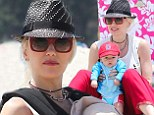 Gwen Stefani on the beach in Santa Monica with her family