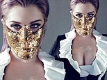'I almost killed myself with drugs': Kelly Osbourne discusses challenges that made her stronger... as she poses in gold mask and low-cut top