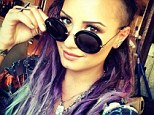 Bold style: Actress-singer Demi Lovato, 21, shared a photo on Saturday of her new purple and blue dreadlocks