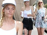Shrinking Jaime King shows off her slender legs and 'thigh gap' in black shorts while grabbing a hamburger lunch ... eight months after giving birth