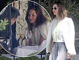 What To Wear for lunch: Trinny Woodall steps out in style dressed in striped maxi skirt with a flash of lime green to Scott's with Charles Saatchi