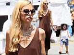 Ultra-skinny Rachel Zoe shows visible chest bones while at Beverly Hills farmers market with her family