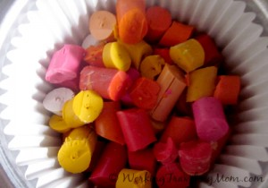 chopped crayons in muffin tin