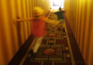 kids in hotel corridor