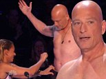 Shirtless star: Howie Mandel stripped of his shirt to join a male dance troupe much to the delight of fellow judgte Mel B on America's Got Talent