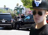 Justin Bieber involved in car crash outside Beverly Hills restaurant Mastro's where he took Selena Gomez on date just days ago