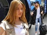 'These Syrian families have witnessed unspeakable horrors': Sienna Miller flies into Boston in embellished jacket after visiting Lebanese refugee camp