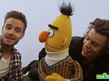 Such cuties: 1D's Harry Styles (right) and Liam Payne (left) sing the alphabet song with Sesame Street's Bert