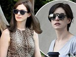 Pixie-haired Anne Hathaway wigs out and wears leopard print on the Brooklyn set of The Intern