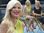 Tori Spelling displays her long legs in pencil skirt as she and Jennie Garth continue to promote Mystery Girls
