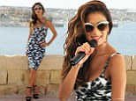 Nicole Scherzinger highlights her enviable figure in palm tree patterned bodycon dress ahead of Isle of MTV performance