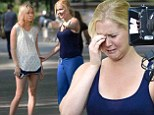 Amy Schumer and Brie Larson get emotional while filming scenes for Judd Apatow's summer 2015 comedy Trainwreck while on location in Central Park in New York City