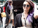 Demi Lovato's platform biker boots given an edge to her boho chic outfit in New York