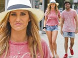 Essex needs more shops! TOWIE's Ferne McCann and Tom Pearce sport MATCHING outfits after teaming faded pink T-Shirts with denim shorts