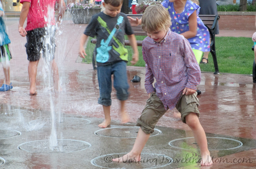 Playing in Town Square Pittsburgh fountain