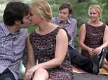Passionate pair: Amy Schumer and Bill Hader were seen kissing on set of Trainwreck in New York's Central Park Thursday