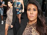 Sexy mama! Pregnant Kourtney Kardashian wears a VERY sexy leopard print maternity romper on girls' night out