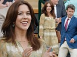 Princess Mary of Denmark stuns in a flowing paisley printed frock during Day Four of Wimbledon
