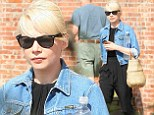 Hey, sporty girl! Michelle Williams styles her chic black outfit with a denim jacket for solo errand run in NY