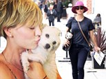 'So in love with our rescue!' Kaley Cuoco carries new dog Ruby in her handbag on a trip to the vet