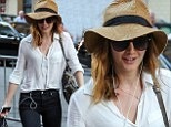 Leighton Meester displays slender frame in high-waisted jeans as she goes incognito in floppy hat on city stroll