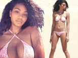 Beach beauty! Victoria's Secret model Chanel Iman shows off her flawless figure in tiny pink bikini as she relaxes in Mexico