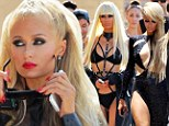 Paris Hilton dons FIVE bondage costumes and several wigs on the LA set of her music video High Off My Love