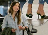 Leaving the gym in stilettos! Jessica Biel goes from workout to work in loose chambray top and velvet kitten heels