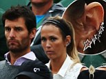 Star power! Blinged up tennis WAG Bec Hewitt sports large stellar shaped ear cuff as she's joined by F1 great Mark Webber court side at Wimbledon