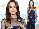 Keira Knightley soars to new heights in navy gown adorned with flying birds at Begin Again premiere in New York
