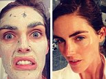 Supermodel selfie:  Hilary Rhoda shows off the results of her mud mask
