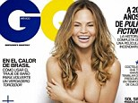 On the cover: Chrissy Teigen appears topless on the cover of July's GQ Mexico - but her breasts appear improbably free on nipples