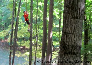 Boy ziplining at Boyne Mountain Resort