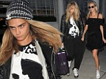 She's off again! Cara Delevingne leaves home with suitcases while looking casual next to sister Poppy who flashes pins in chic off-the-shoulder LBD