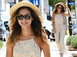 She's all in (one) for summer! Jamie Chung turns heads in floral pink jumpsuit and straw boater as she heads out for lunch