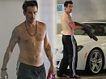 Shirtless Colin Farrell displays his tattooed chest after yoga session in West Hollywood