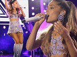 Ariana Grande shakes it up in purple circle-patterned skirt and top at iHeartRadio Pool Party as she turns 21 years old