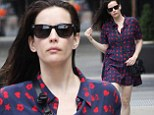 Heart's afire! Liv Tyler sports a brightly patterned dress and dampened locks during casual errand run in New York