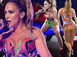 Jennifer Lopez shows off pert posterior in plunging jungle print leotard as she puts on high energy show at iHeartRadio gig