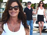 Strutting her stuff: Janice Dickinson put her extremely slim figure on display in a tiny black skirt as she left The Ivy restaurant in Beverly Hills on Saturday