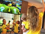 Victoria's Secret models Alessandra Ambrosio and Gisele Bundchen rally their children to support their native Brazil in the World Cup