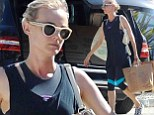 Make-up free Diane Kruger displays her toned figure in workout wear as she grabs groceries from pricey market