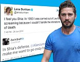 Zach Braff and Lena Dunham among the celebrities to mock Shia LaBeouf on Twitter after his arrest at Cabaret performance